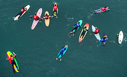 June 20, 2017 - Huntington Beach, California, USA - Hundreds of surfers paddle into place just north of the Huntington Beach Pier in Huntington Beach as they create the world's largest paddle out ''Surfing Circle of Honor'' in Huntington Beach Tuesday morning, June  20, 2017. (Photo by Mark Rightmire, Orange County Register/SCNG) (Credit Image: © Mark Rightmire, Mark Rightmire/The Orange County Register via ZUMA Wire)