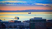 Ferry in Elliott Bay arriving in Seattle, Washington