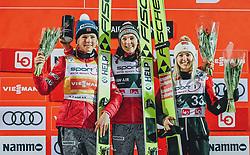 10.03.2020, Lysgards Schanze, Lillehammer, NOR, FIS Weltcup Skisprung, Raw Air, Lillehammer, Damen, Siegerehrung, im Bild 2. Platz Maren Lundby (NOR), Siegerin Silje Opseth (NOR), 3. Platz Chiara Hoelzl (AUT) // 2nd placed Maren Lundby of Norway Winner Silje Opseth of Norway 3rd placed Chiara Hoelzl of Austria during the winner ceremony for the women's 2nd Stage of the Raw Air Series of FIS Ski Jumping World Cup at the Lysgards Schanze in Lillehammer, Norway on 2020/03/10. EXPA Pictures © 2020, PhotoCredit: EXPA/ Tadeusz Mieczynski