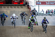 #268 (SCIORTINO Martti) ITA, #515 (SHARROCK Paddy) GBR, #204 (GOBERT Dylan) FRA, #44 (DEAN Anthony) AUS, #100 (MAHIEU Romain) FRA at Round 6 of the 2019 UCI BMX Supercross World Cup in Saint-Quentin-En-Yvelines, France