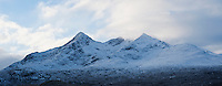 Winter view of snow covered Black Cuillins, Isle of Skye, Scotland