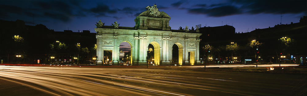 Nighttime time exposure at the Acala Gate in Madrid, Spain.