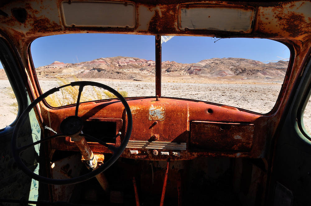Desert view from the interior of an abandoned truck in Southern Utah.