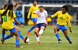 February 27, 2019 - Chester, PA, U.S. - CHESTER, PA - FEBRUARY 27: England Forward Fran Kirby (10) takes a shot blocked by Brazil Defender Monica (21) in the first half during the She Believes Cup game between Brazil and England on February 27, 2019 at Talen Energy Stadium in Chester, PA. (Photo by Kyle Ross/Icon Sportswire) (Credit Image: © Kyle Ross/Icon SMI via ZUMA Press)