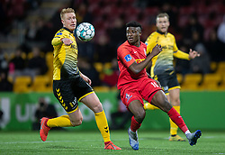 Mohammed Kudus (FC Nordsjælland) og Bjarke Jacobsen (AC Horsens) under kampen i 3F Superligaen mellem FC Nordsjælland og AC Horsens den 19. februar 2020 i Right to Dream Park, Farum (Foto: Claus Birch).