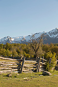 wooden fence on farmland, Patagonia, Argentina, South America