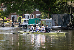 © Licensed to London News Pictures. 08/06/2021. London, UK. Rowers exercise on a sun drenched River Thames at Molesey in south west London.The warm sunny weather continues with high temperatures and sunshine. Photo credit: Peter Macdiarmid/LNP