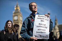 © Licensed to London News Pictures . 25/03/2017 . London , UK . PETER TATCHELL . A Unite for Europe anti Brexit march through central London , from Park Lane to Westminster . Protesters are campaigning ahead of the British government triggering Article 50 of the Lisbon Treaty which will initiate Britain's withdrawal from the European Union . Photo credit : Joel Goodman/LNP