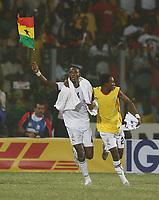 Photo: Steve Bond/Richard Lane Photography.<br /> Ghana v Morocco. Africa Cup of Nations. 28/01/2008. John Pantsil (L) and Hans Adu Sarpei (R) celebrate qualification