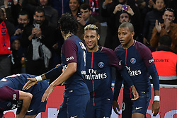 Edinson Cavani, Neymar Jr and Kylian Mbappe of PSG during the Ligue 1 match between Paris Saint Germain and Olympique Lyonnais at Parc des Princes on September 17, 2017 in Paris, France. one of the big talking points from the match was the apparent tension between Cavani and the world's most expensive player, Neymar. Cavani won an argument to take a penalty, only to then miss it, while Dani Alves got involved in a disagreement over a free-kick and gave the ball to his fellow Brazilian Neymar. Photo by Laurent Zabulon/ABACAPRESS.COM