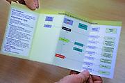 Nederland, Nijmegen, 14-4-2011Een speciale verpleegkundige die specialist is in wondverzorging, een wondverpleegkundige, met een schema, protocol, voor wondverzorging.Foto: Flip Franssen