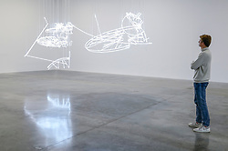 """© Licensed to London News Pictures. 06/02/2020. LONDON, UK. A staff member views """"... take Apprentice in the Sun I & II"""", 2020, by Cerith Wyn Evans. Preview of """"No realm of thought... No field of vision"""" by Cerith Wyn Evans at the White Cube gallery in Bermondsey.  The exhibition runs 7 February to 19 April 2020.  The show comprises installations, sculpture and painting.  Photo credit: Stephen Chung/LNP"""