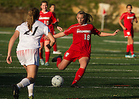 Kelsey Scott scores her first of two goals during semi final game with Campbell to advance Belmont into the final State Championship game to be played on Sunday afternoon at Laconia High School.  (Karen Bobotas/for the Laconia Daily Sun)