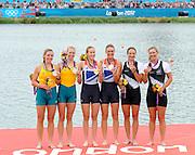Eton Dorney, Windsor, Great Britain,<br /> <br /> 2012 London Olympic Regatta, Dorney Lake. Eton Rowing Centre, Berkshire[ Rowing].<br /> <br /> Description; Women's Pairs,  Gold Medalist Helen GLOVER and Heather STANNING. GBR W2-   Dorney Lake.<br /> <br /> 12:28:01  Wednesday  01/08/2012<br /> <br /> [Mandatory Credit: Peter Spurrier/Intersport Images]
