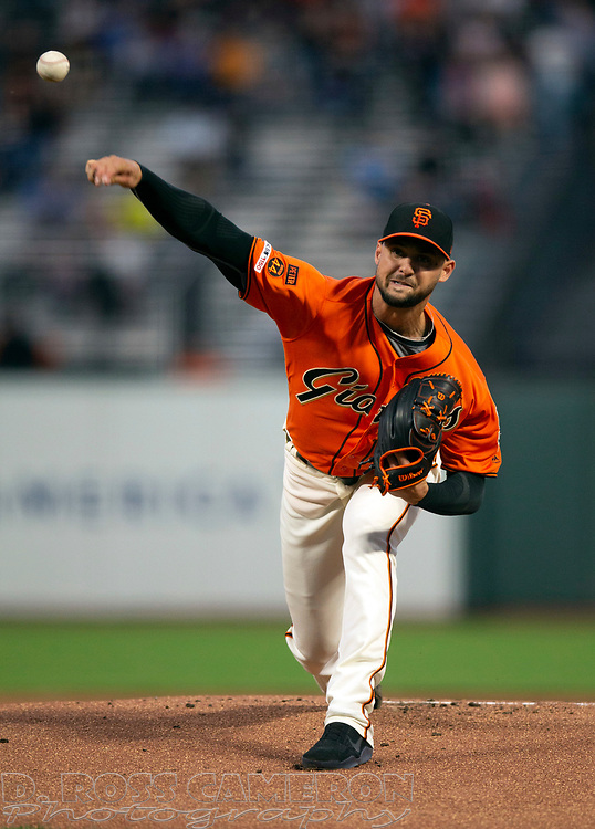 Sep 13, 2019; San Francisco, CA, USA; San Francisco Giants starting pitcher Tyler Beede (38) delivers against the Miami Marlins during the first inning of a baseball game at Oracle Park. Mandatory Credit: D. Ross Cameron-USA TODAY Sports