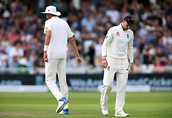 England's Joe Root (right) appears dejected during day two of the Second Investec Test match at Trent Bridge, Nottingham.