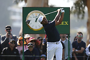 Harold Varner III plays his shot from the ninth tee during the Genesis Invitational third round at Riviera Country Club, Saturday, Feb. 15, 2020, in the Pacific Palisades area of Los Angeles.
