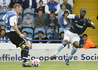 Photo Aidan Ellis.<br /> Sheffield Wednesday v Manchester City.<br /> Friendly match at Hillsbrough.<br /> 31/07/2005.<br /> City's Bradley Wright Phillips challenges Wednesday's Graham Coughlan