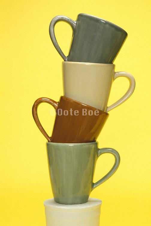 Stacked ceramic tea cups