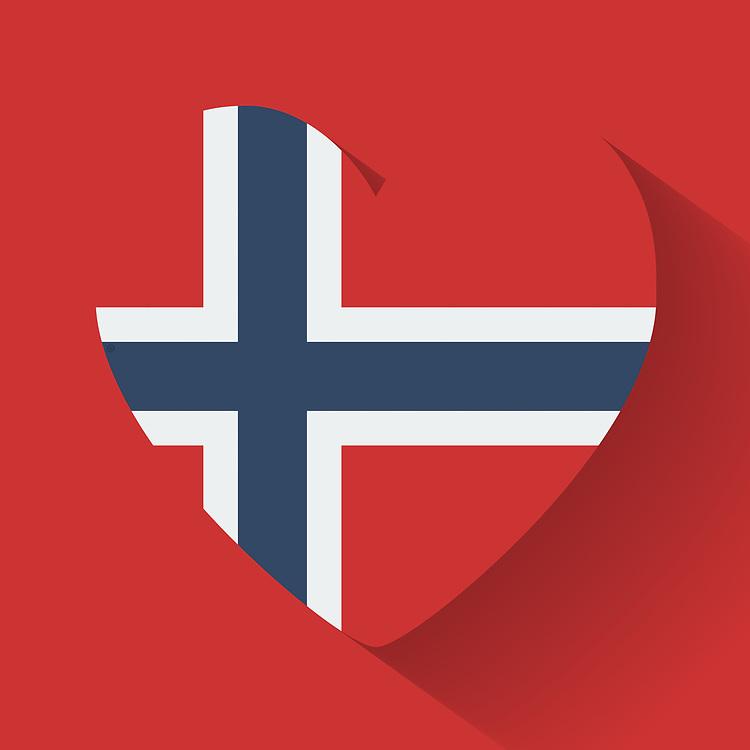 Norges flagg i rødt, hvitt og blått, formet som et hjerte, på rød bakgrunn, med slagskygge.