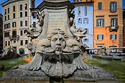 The Fontana del Pantheon fountain in front of the Pantheon in Rome, Italy