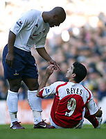 13/11/2004 - FA Barclays Premiership - Tottenham Hotspur v Arsenal - White Hart Lane<br />Tottenham's Noe Paramot points at Arsenal's Jose Antonio Reyes and accuses him of diving to earn a freekick<br />Photo:Jed Leicester/Back page images
