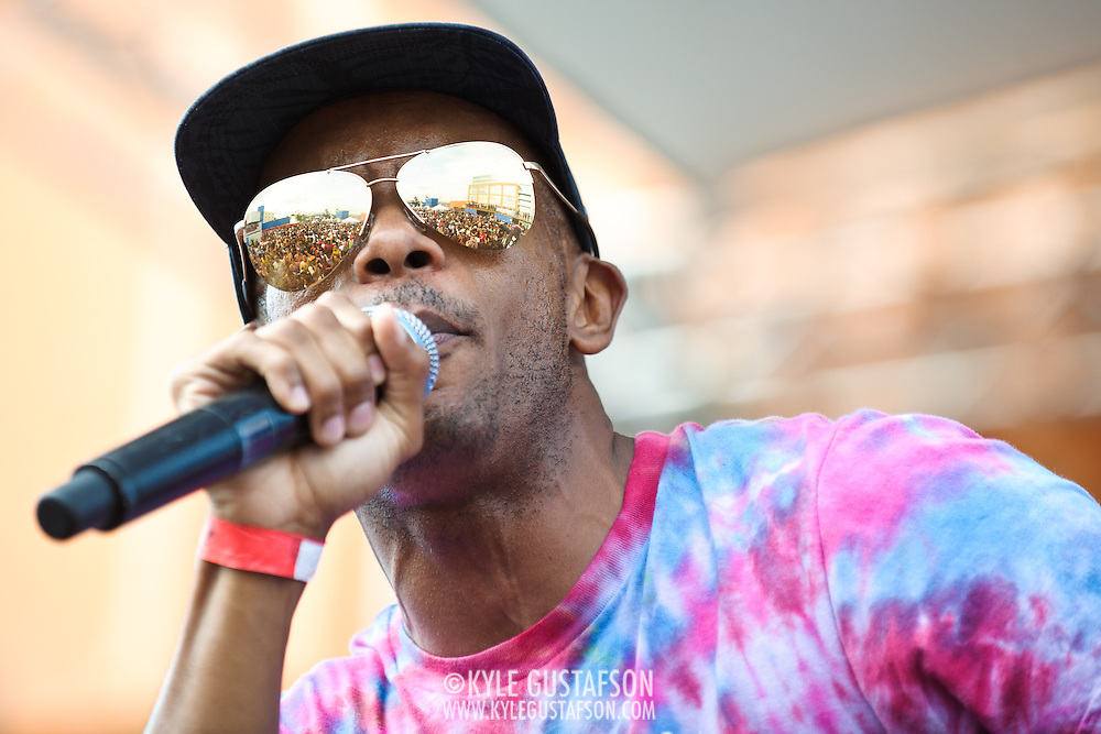 WASHINGTON, DC - August 11th, 2012 -  Tabi Bonney looks over the crowd as he performs at the inaugural Trillectro Festival at the Half Street Fairgrounds in Washington, D.C. The festival was a combination of hip-hop and dance acts, bringing together fans of both genres.  (Photo by Kyle Gustafson/For The Washington Post)