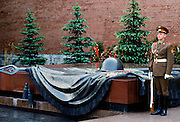 Tomb of the Unknown Soldier World War II war memorial, Mogila Neizvestnova Soldata, at The Kremlin, Moscow, Russia, Russian Federation
