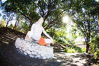Pawan Shastri in front of Shiva Statue at the Parmath Niketan Ashram