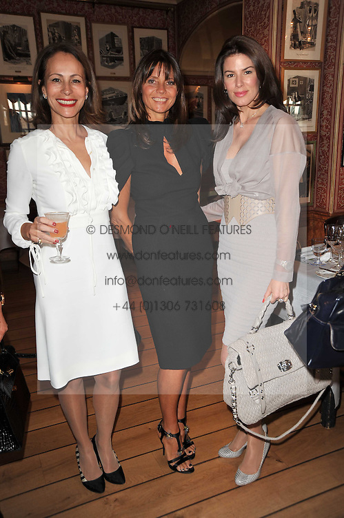 Left to right, ANDREA DELLAL, COUNTESS DEBONAIRE VON BISMARCK and CHRISTINA ESTRADA-JUFFALI  at a lunch hosted by Roger Viver in honour of Bruno Frisoni their creative director, held at Harry's Bar, 26 South Audley Street, London on 31st March 2011.