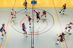 02-02-2019 NED: Regio Zwolle Volleybal - Sliedrecht Sport, Zwolle<br /> Round 16 of Eredivisie volleyball - Sliedrecht win the match 3-2 / Fleur Savelkoel #6 of Sliedrecht Sport , Demi Korevaar #8 of Sliedrecht Sport, Ana Rekar #11 of Sliedrecht Sport, Maureen van der Woude #8 of Zwolle, Manon Zeeboer #10 of Zwolle, Kim de Wild #4 of Zwolle