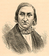 Edward Forbes (1815-1854) British geologist. Professor of botany, Kings College London.  President of the Royal Geological Society 1853.  From 'Life of Sir Roderick I. Murchison' by Archibald Geikie (London, 1875). Engraving.