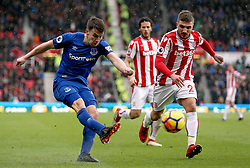 Everton's Seamus Coleman (left) and Stoke City's Kostas Stafylidis battle for the ball