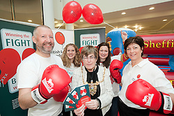"""Dr Rod Lawson Consultant in Respiratory Medicine at Sheffield Teaching Hospitals, Ellenor Craven, The Lord Mayor of Sheffield Councillor Dr Sylvia Dunkley, Stephanie Dean  & British Lung Foundation Support & Development Manager help to launch of the """"Winning The Fight For Breath  with COPD Campaign"""" in Meadowhall Shopping Centre Sheffield on Saturday 18th February 2012..www.pauldaviddrabble.co.uk..18th February 2012 -  Image © Paul David Drabble"""