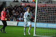 Swansea city's Michu celebrates after he scores the 1st goal . Barclays Premier league, Swansea city v Queens Park Rangers at the Liberty Stadium in Swansea, South Wales on Saturday  9th Feb 2013. pic by Andrew Orchard, Andrew Orchard sports photography,