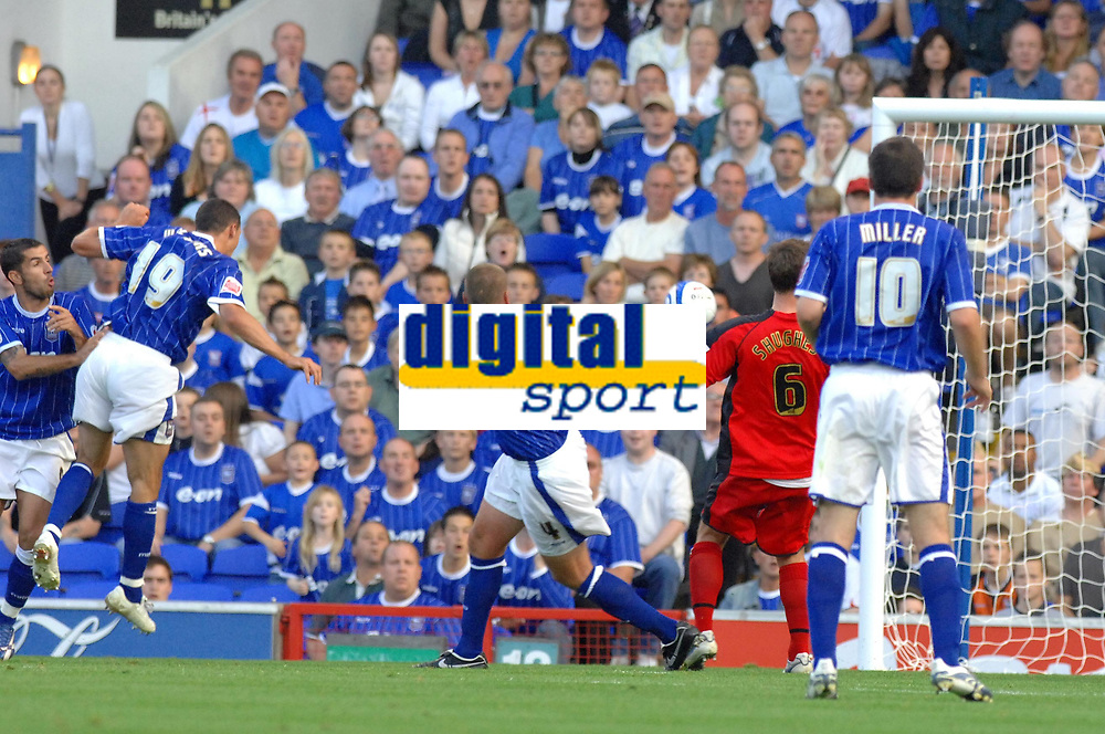 Photo: Ashley Pickering.<br /> Ipswich Town v Coventry City. Coca Cola Championship. 22/09/2007.<br /> Jonathan Walters (no 19) heads in Ipswich's third of the afternoon