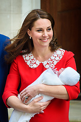 The Duchess of of Cambridge pictured outside the Lindo Wing at St Mary's Hospital in Paddington, London, after the birth of her second son. Photo credit should read: Matt Crossick/EMPICS Entertainment