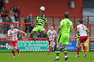 Forest Green Rovers Isaiah Osbourne(34) wins a header during the EFL Sky Bet League 2 match between Stevenage and Forest Green Rovers at the Lamex Stadium, Stevenage, England on 21 October 2017. Photo by Adam Rivers.
