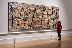 © Licensed to London News Pictures. 20/09/2016.  Paintings titled Blue poles, 1952, by artist Jackson Pollock's on show as part of the Royal Academy's Abstract Expressionism exhibition. London, UK. Photo credit: Ray Tang/LNP