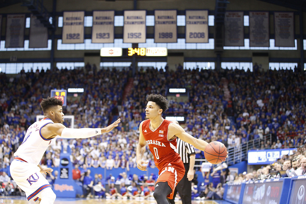 Nebraska Cornhuskers guard Tai Webster #0 looks to pass during Nebraska's 89-72 loss to Kansas at Allen Fieldhouse in Lawrence, Kan. on Dec. 10, 2016. Photo by Aaron Babcock, Hail Varsity