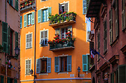 Residential buildings in the Vielle Ville (old town) part of Nice in the Cote d'Azur region of the southern France riviera