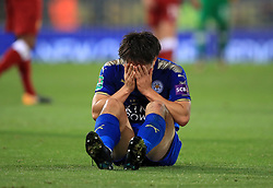 """Leicester City's Shinji Okazaki sits dejected during the Carabao Cup, third round match at the King Power Stadium, Leicester. PRESS ASSOCIATION Photo. Picture date: Tuesday September 19, 2017. See PA story SOCCER Leicester. Photo credit should read: Mike Egerton/PA Wire. RESTRICTIONS: EDITORIAL USE ONLY No use with unauthorised audio, video, data, fixture lists, club/league logos or """"live"""" services. Online in-match use limited to 75 images, no video emulation. No use in betting, games or single club/league/player publications."""