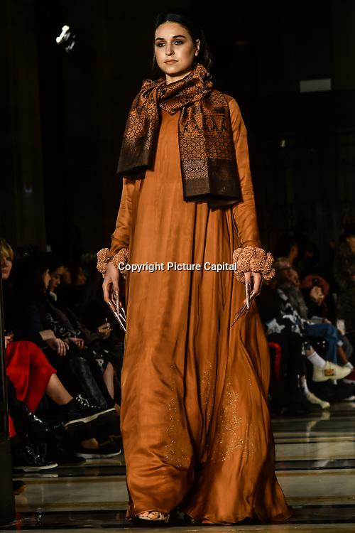 the Indonesian Fashion Showcase - Jera at Fashion Scout London Fashion Week AW19 on 16 Feb 2019, at Freemasons' Hall, London, UK.