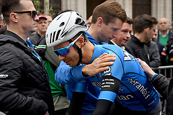 April 11, 2018 - Leuven, BELGIUM - Belgian Stijn Devolder of Verandas Willems - Crelan and Belgian Elias Van Breussegem of Verandas Willems - Crelan pictured at a tribute to the 23 year old cyclist Michael Goolaerts who died after a crash in the Paris-Roubaix race on Sunday 8 April, at the start of the 58th edition of the 'Brabantse Pijl' one day cycling race, 201,9 km from Heverlee, Leuven to Overijse, Wednesday 11 April 2018. BELGA PHOTO DAVID STOCKMAN (Credit Image: © David Stockman/Belga via ZUMA Press)