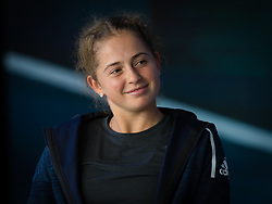 October 1, 2018 - Jelena Ostapenko of Latvia visits the Mercedes Benz booth at the 2018 China Open WTA Premier Mandatory tennis tournament (Credit Image: © AFP7 via ZUMA Wire)