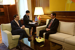 April 27, 2017 - Athens, Attiki, Greece - Greek Prime Minister Alexis Tsipras (left) and Liu Qibao, Secretary of the Secretariat, member of the Politburo of the Communist Party of China (right) during their meeting. (Credit Image: © Dimitrios Karvountzis/Pacific Press via ZUMA Wire)