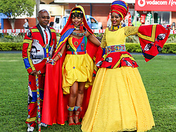 Durban. 070718. Fashion Theme for the 2018 Vodacom Durban July. - It Is Time - Every year a new theme is released to get the creative juices of the visitors and fashion desighners flowing. Picture Leon Lestrade. African News Agency/ANA. Musa Mathebula, Nozipho Zuma and Lindo Mathebula.