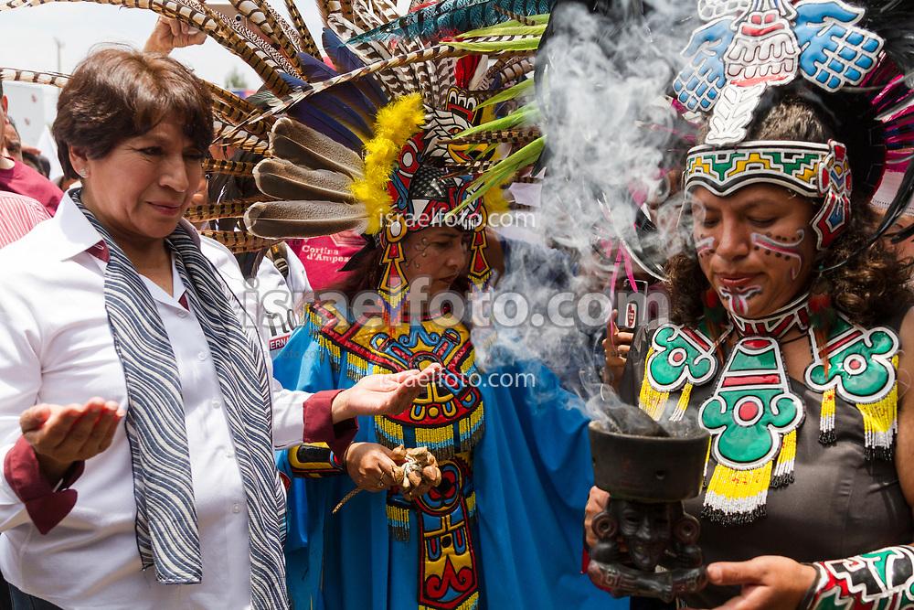Una ceremonia prehispánica fue parte del cierre de campaña en el municipio de Teotihuacan.