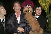 Jon robyns ( rod) David Hasselhof and Simon Lipkin ( Trekkie Monster) Opening night of Cameron Mackintosh's new production 'Avenue Q' after-party at Mint Leaf. Suffolk Pl. London. 28 June 2006. ONE TIME USE ONLY - DO NOT ARCHIVE  © Copyright Photograph by Dafydd Jones 66 Stockwell Park Rd. London SW9 0DA Tel 020 7733 0108 www.dafjones.com