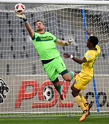 Cape Town-180818 Cape Town City goalkeeper Peter Leeuwenburg saves a ball from Danny Phiri  of Golden Arrows in a PSL match at Cape Town Stadium .photograph:Phando Jikelo/African News Agency/ANA